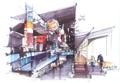 室内商业空间手绘效果图